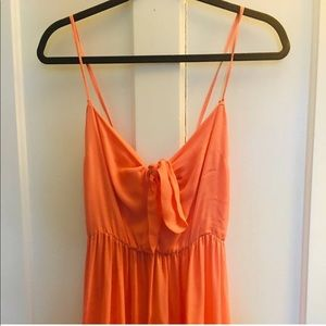 NWT 100% silk Coral tie-front maxi dress